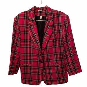 Vintage 1980's Pink Plaid Women's Blazer Size 13